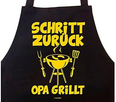 Grillschürze Schritt zurück, Opa grillt