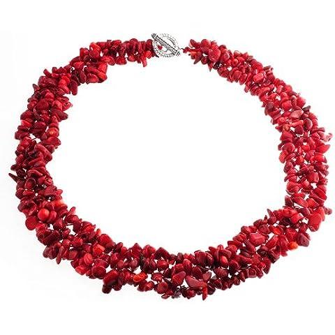 Bling Jewelry Piedra precioa múltiple hebra Chip Coral rojo Collar Chunky clúter