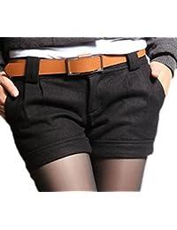 a615b99575d5 Vian Lundgaard - Damen Frauen Kurze Stoffhose Short mit Gürtel, 32-40, Viele