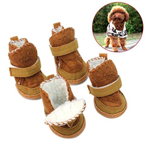 Scarpe per cani UEETEK Stivali caldi per cani cuccioli antiscivolo in Marrone