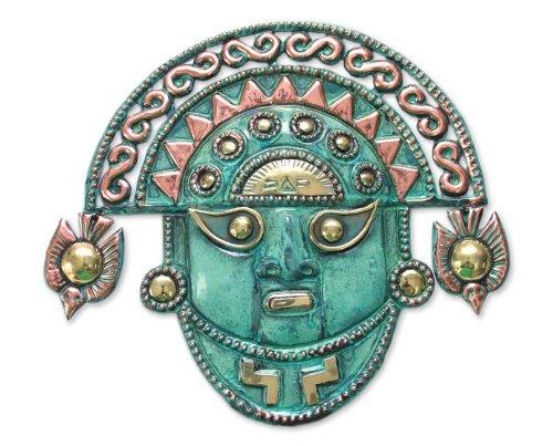 NOVICA Décoratif archéologique Bronze et le masque de cuivre, vert « Dieu Ai Apaec » Bronze/Cuivre