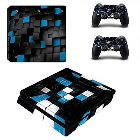 Morbuy PS4 Slim Skin Vinyl Autocollant Decal Sticker pour Playstation 4 Slim console + 2 Dualshock Manette Set (Blue