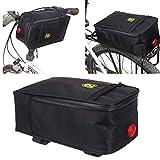 QHJ Fahrrad Packtaschen Multifunktionsfahrrad Rücksitz Beutel Stamm Beutel Handtasche hintere Fahrrad Zubehör (Schwarz)
