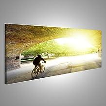 Quadro moderno In bicicletta nei giardini Turia, Valencia Ciclista in motion blur Stampa su tela - Quadri moderni x poltrone salotto cucina mobili ufficio casa - fotografica formato XXL tantissime misure e formati disponibili HZO-Pano