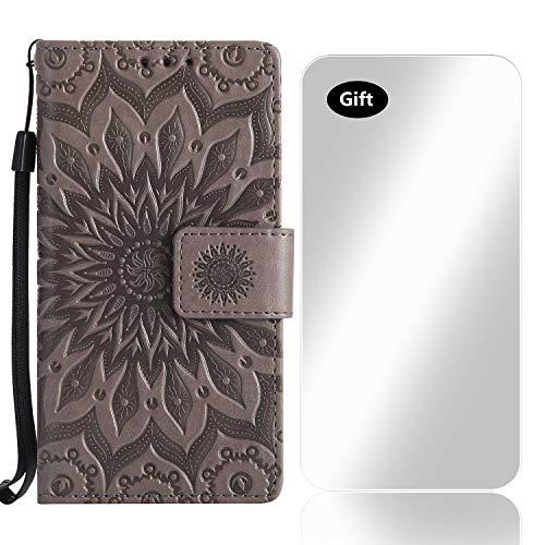 Sony Xperia XZ Hülle, Bear Village® Leder PU Cover Magnet Filp Brieftasche Schutzhülle mit Kostenlos Schutzfilm aus Gehärtetem Glas für Sony Xperia XZ (#2 Grau)