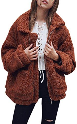 ECOWISH Damen Mantel Revers Faux Für Lose Langarm Outwear Tasche Reißverschluss Winterjacke Mode Kurz Coat Kaffee M