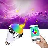 Miric Bombilla Musical Inteligente con Luz LED de Colores E27 Bocina Bluetooth 4.0, RGBW Multicolor, Audio, Temporizador de Encendido/Apagado, APP Gratuita para Smartphones par Hogar y Entretenimiento