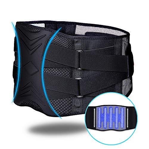 ZHIJING Rückenbandage mit Stützstreben und verstellbare Zuggurte und atmungsaktiver Nylonstoff ideal für Arbeitsschutz entlastet die Rückenmuskulatur und zur Haltungskorrektur L/XL 79-96cm