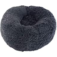 Mkiki Pet Dog Cat Calming Bed Round Nest Warm Soft Plush Comfortable for Sleeping Winter (70cm, Dark gray)