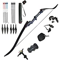 D&Q Archery Takedown Recurve Bow and Arrow Set for Outdoor Hunting Practice Shooting Competition Draw Weight 30 35 40 45 50 55 60 Lbs Aluminum Alloy Riser Right Hand