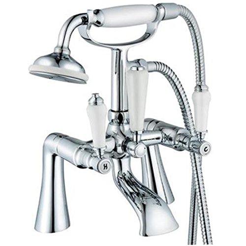 traditionnel en céramique Poignées robinet mélangeur de baignoire + douche antique (4)