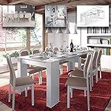 MarinelliGroup Tavolo allungabile Fino a 237 cm consolle per Soggiorno Cucina Bianco Lucido in melamina 50 x 90 x 78 H cm Flora