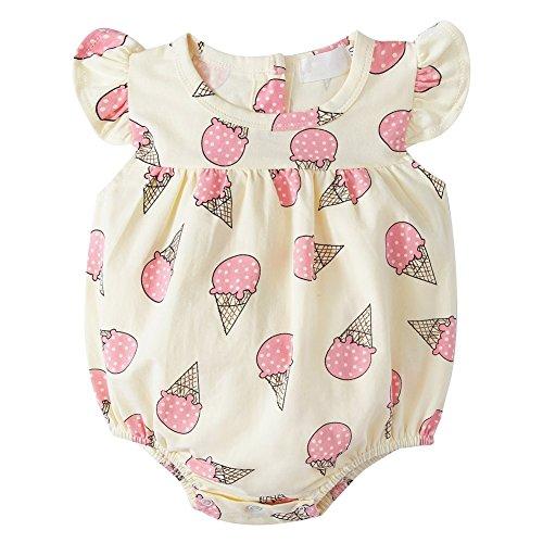 Bornbayb Kinder Strampler Rüschen Ärmel Baby Sommer Outfit Coole Eis Kleidung Kind Kleidung 0-24 Monate (Eis Kinder T-shirt)