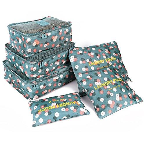 51BR3SQxwLL - BEST BUY #1 HOMPO 6pcs Nylon Travel Cosmetics Packing Organisers Bags Set Packing Cube Bag in Bag Storage Luggage set Blue Flower Reviews and price compare uk