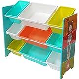NTS Étagère pour Enfant avec 9 boîtes de Rangement en Plastique pour Jouets de Chambre d'enfant 84 x 60 x 30 cm
