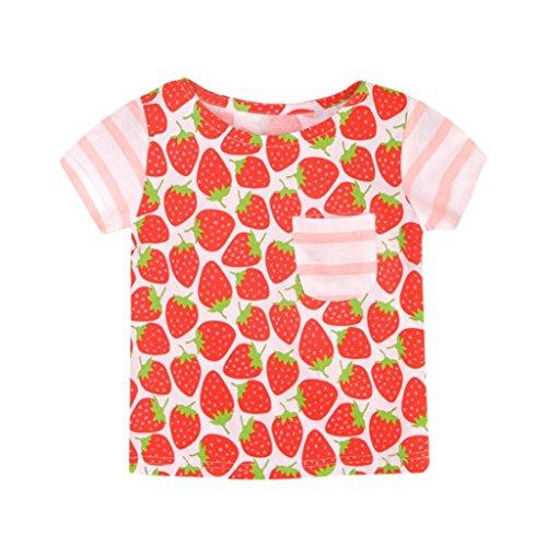Amlaiworld frühling sommer bunt Früchte drucekn T-shirt mode gestreift Erdbeeren sport blusen Mädchen locker Gemütlich Pailletten Schmetterlinge Oberteile kleidung,0-6 Jahren (2 Jahren, Rot) (Früchte Kostüm Machen)