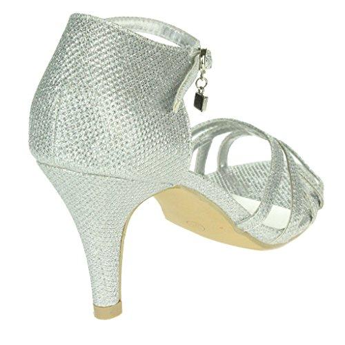 Femmes Dames Miroiter Deux parties Peep Toe Sangle de cheville Mid Heel Soir Fête De mariée Mariage Prom Sandales Chaussures Taille Argent