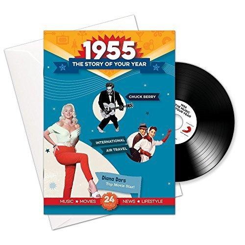 1955 cumpleaños o aniversario regalos - 1955 4-en-1 tarjeta y regalo - Historia de su Año, CD, Music Download - 15 Gráfico originales Canciones - Presente Retro Para Hombres y Mujeres