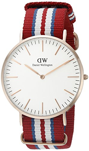 £72.82 Hot Daniel Wellington Exeter Rose Men's Quartz Watch with White Dial Analogue Display and Multicolour Nylon Strap 0112DW