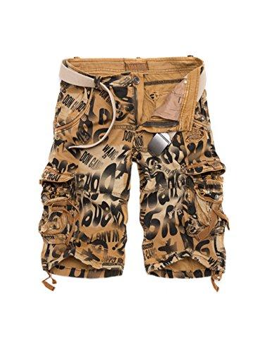 Menscwhear Pocket Hobo Release Pantaloni da Jogging da Uomo sportivi Casual Sarouel danza Shorts in esecuzione with belts (48,giallo)