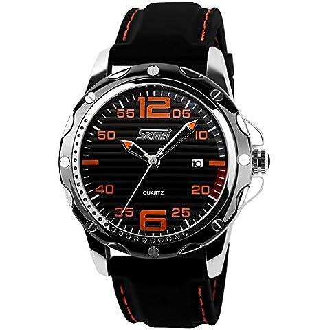 qiyan Hombres Gimnasio de cuarzo resistente al agua deporte reloj de pulsera 30m resistente al agua, color negro