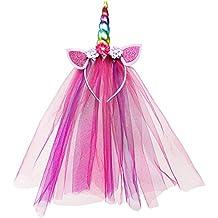 Vamei unicornio venda de moda unicornio cuerno chica cumpleaños corona tocado arco iris de encaje de color aro de pelo para el partido decoración tocado disfraz de cosplay