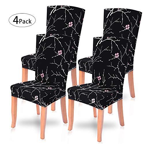 Ivyshion 4 pcs coprisedia con schienale copri sedie copertura sedia fodere coprisedile per sala da pranzo protettivo spandex elastico lavabile elasticizzato, ristorante, hotel,nozze,banchetto