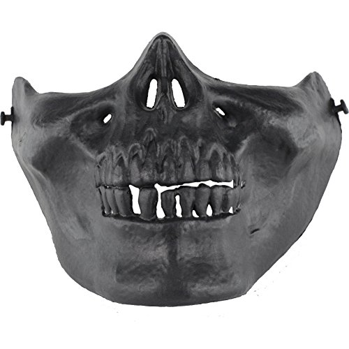 TZTED Totenkopf Halbe Gesichtsmaske Im Freien Für Airsoft Paintball CS Krieg Spiel BB Gun Cool Scary Ghost Halloween Party Maske,Black