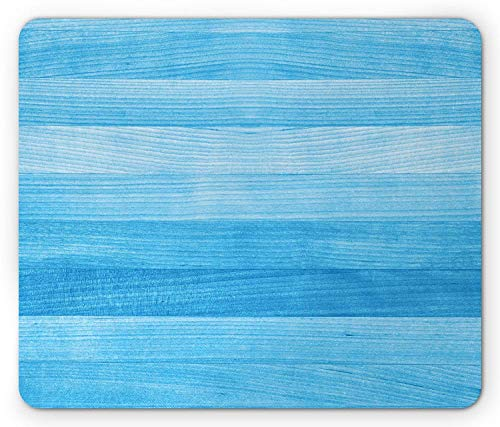 BAOQIN Mouse Pad,Pale Blue Mouse Pad, Wooden Planks Painted Texture Image Oak Tree Surface Maple Pine Board Stripes, Standard Size Rectangle Non-Slip Rubber Mousepad, Pale Blue -