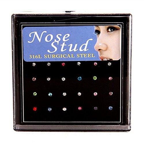 60Stk Set Nasenpiercing Stecker Strass Zirkonia Kristall Piercing Nasen Stecker Schmuck Nase Piercing (Mehrfarbig)