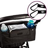 BTR Pram Buggy Buddy Stroller Organiser Storage Bag With Mobile Phone Holder & Rain Cover - Black - Water Resistant. PLUS Pram Hooks x 2