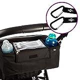 BTR Kinderwagen- / Buggy-Organiser, Aufbewahrungstasche mit Mobiltelefon-Halter, Regenschutz und 2 Kinderwagenbefestigungen (Clips) - schwarz - wasserabweisend