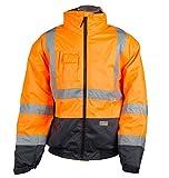 Warnschutzjacke S-5XL Pilotenjacke Arbeitsjacke Sicherheitsjacke Winter Jacke (Orange-Marine, M)