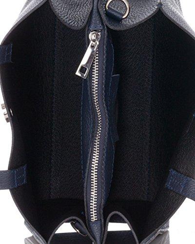 Laura Moretti - Borsa in vera pelle e nappa con borchie,chiusura a cintura e motivi decorativi (piccole dimensioni) Blu