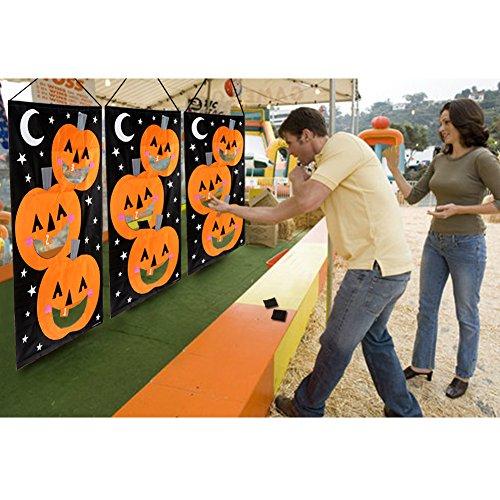 AerWo Halloween Kürbis Spiel Hängende Art Kürbis Bohnenbeutel Toss Spiel + 3 Bohnenbeutel, Halloween Party Cornhole Party Spiele für Kinder und Erwachsene 76X138cm - 7