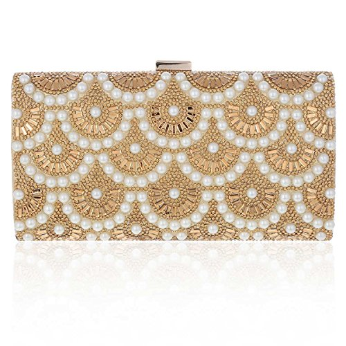Damara Pochette de Soirée Femme Synthétique Rectangle Noble Raffiné Arc de Perle Etincellant or