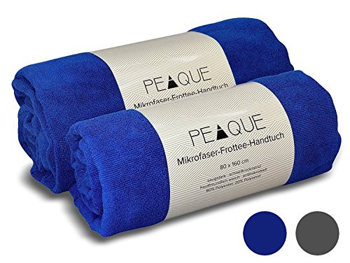 PEAQUE Mikrofaser Frottee-Handtuch - 2er Set, antimikrobiell - Strandtuch Strandhandtuch Reisehandtücher Saunahandtuch, Fitness-Handtuch (Royal Blau, 80 x 160 cm (2 Stück))