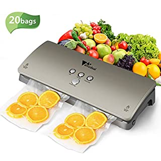 Amzdeal Vacuum Sealer Machine Food Vacuum Sealer with 20 Vacuum Storage Bags for Meat Fish Fruit Vegetable