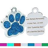 Hundemarke mit Gravur/Gratis Schlüsselringe/Personalisierte Funkelnd Pfote ID-Tag/für kleine Mittel Hunde Katzen/Benutzerdefinierte Tags für Haustiere/BLAU 25 * 25mm