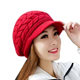 Kfnire Casquettes visières, Chapeaux d'hiver pour Femmes Filles Chaude en Laine tricoté Chapeau de Cran de Ski de Neige avec visière (Rouge)
