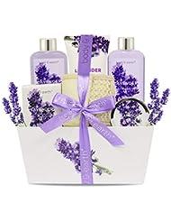Bade- und Dusch Set: Body & Earth Gift Basket 6-teiliger Lavendel Duft Spa Geschenkset für Frauen, Enthält Duschgel, Schaumbad, Bodylotion, Badesalz, Körperpeeling und Mehr, Bestes Geschenk für Frauen