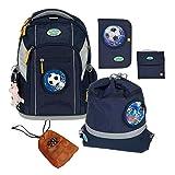 School-Mood Schulranzen-Set 7-tlg Loop Fußball 90700 marine blue