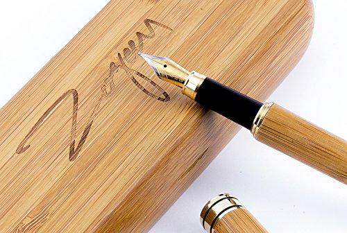 Der handgefertigte Zogeen Füllfederhalter|Bambus Retro-Set zum Zeichnen und Schreiben|Bester Geschenk-Füllfederhalter mit natürlichem Kästchen, Tintenpatronen und Tintennachfüll-Element|Sie erhalten einen Luxus Kalligraphie Füllfederhalter mit einer goldenen Füllerfeder