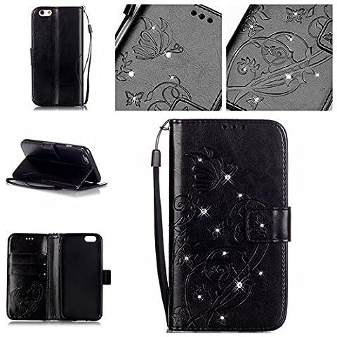 Nancen Apple Iphone 6 Plus / 6S Plus (5,5 pouces) coque , PU cuir flip housse Étui Cover Case Wallet Stand avec Carte de Crédit Fentes pour , idéal pour protéger votre téléphone , La technologie de gaufrage avancée , Surface en cuir incrusté de diamants de cristal
