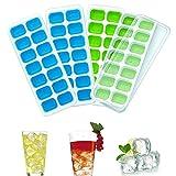 Eiswürfelformen,Queta 4 Stücke Eiswürfelform Mit Deckel Eiswürfelschale 14 Fach Eiswürfel Box Eiswürfelschale LFGB Zertifiziert (Grün und Blau)