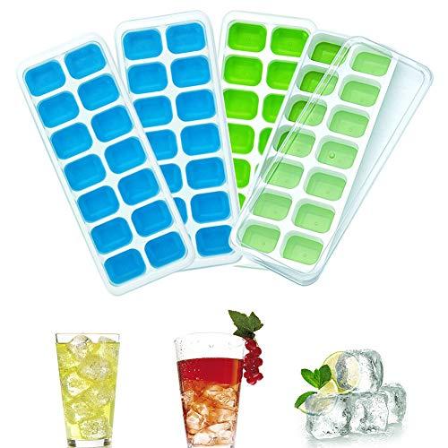 Queta Eiswürfelformen, 4 Stücke Eiswürfelform Mit Deckel Eiswürfelschale 14 Fach Eiswürfel Box Eiswürfelschale LFGB Zertifiziert (Grün und Blau)