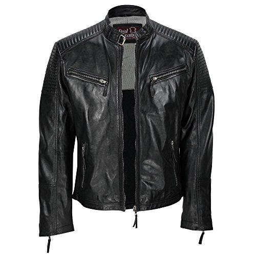 Cazadora de piel auténtica para hombre, encerada, estilo motero, aspecto retro, con cremallera Negro negro XX-Large
