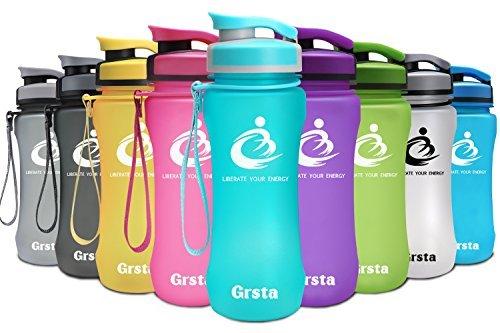 Grsta Botella del Agua Deporte 600ml/800ml/1L Sin BPA Plastico Botella de Agua
