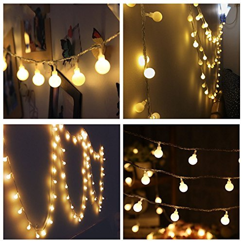 Feet Ball Globe Long String Lights Warm Color Warm Color Fairy Starry Light Garden Party(Warm White) by Naisidier (Globe Lights String)