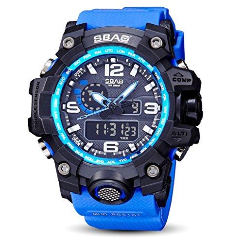 sunnymi Unisex Core Outdoor Sport Uhr/Wasserfest/Leuchtende Funktion/Datum und Uhrzeit/Robustes Verbundgehäuse/Abenteurer (Blau) Hof-fliesen